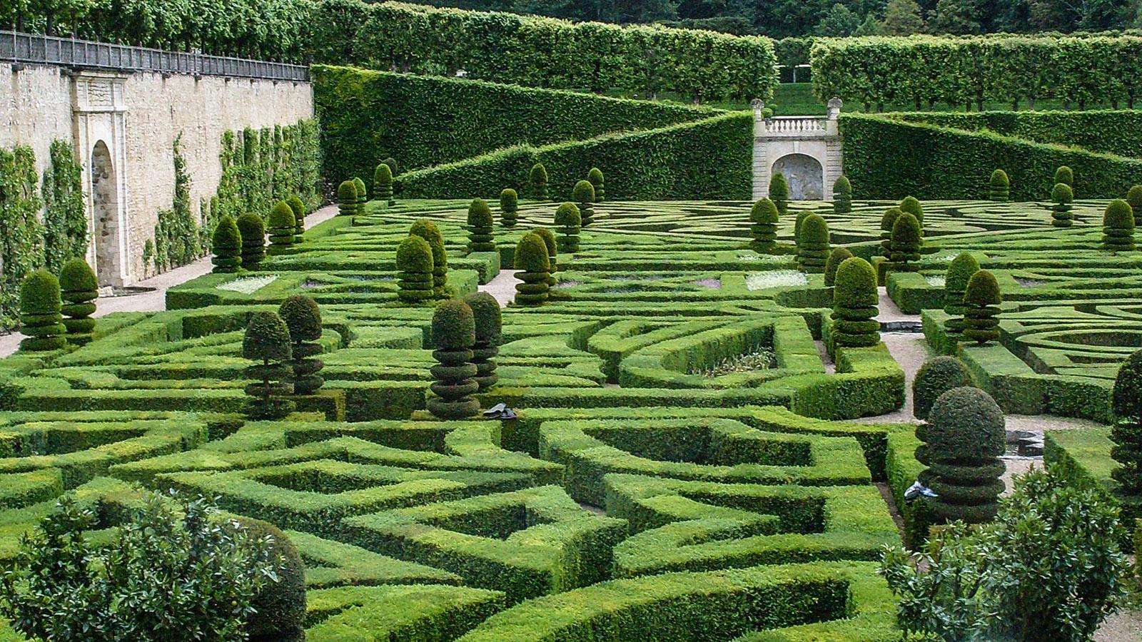 Château de Villandry: Die Buchsbaumhecken des ornamentalen Ziergartens. Foto: Hilke Maunder