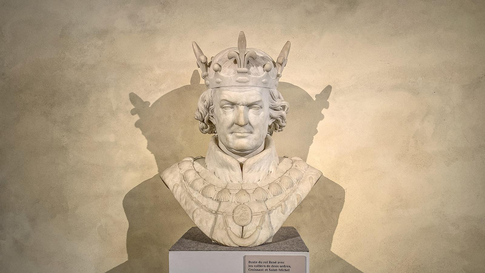 Angers: Die Büste von König René im Logis du Roi des Château d'Angers. Foto: Hilke Maunder