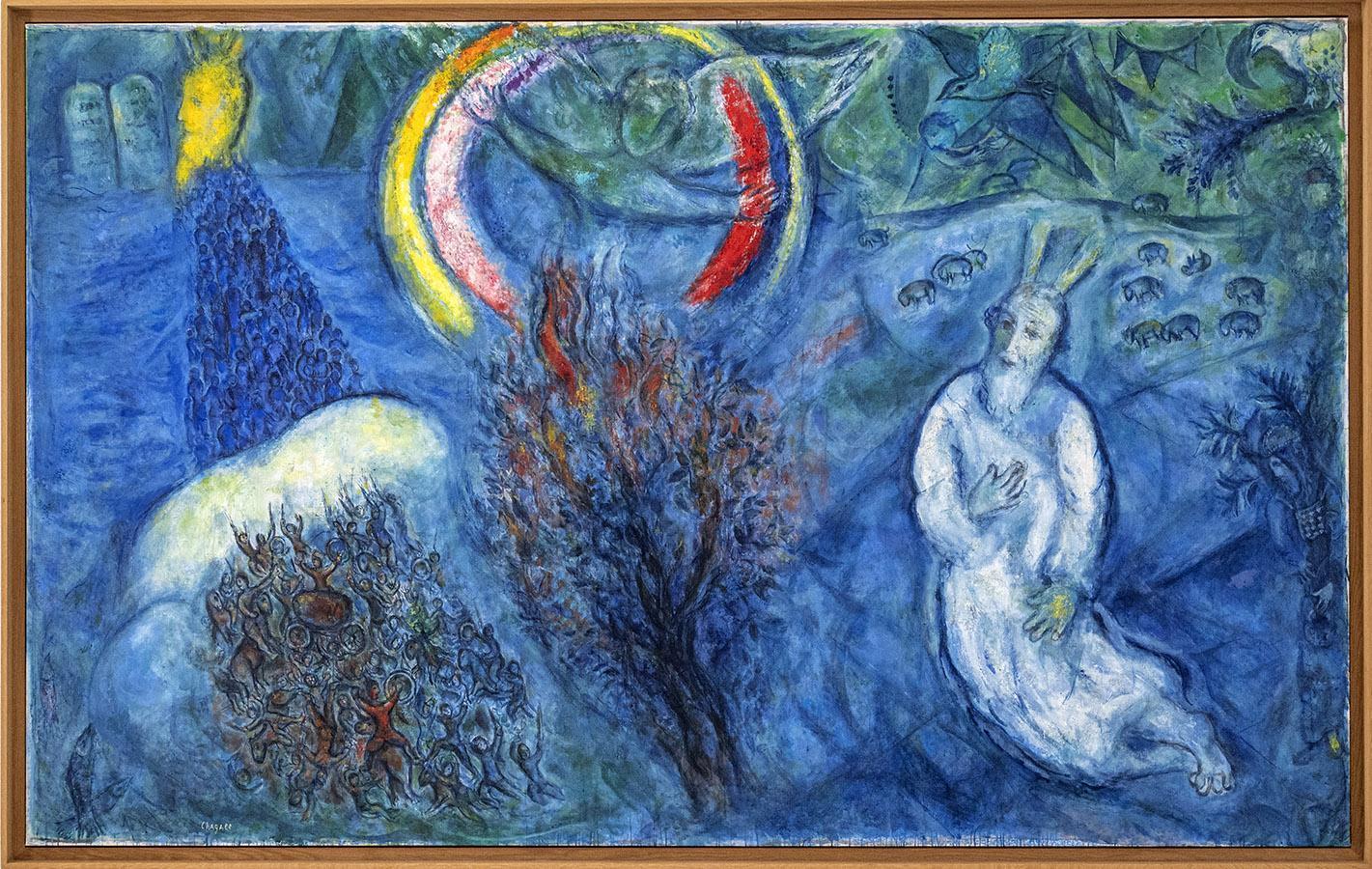 Moses und der brennende Dornbusch. Copyright: Musée Marc Chagall, Foto: Hilke Maunder