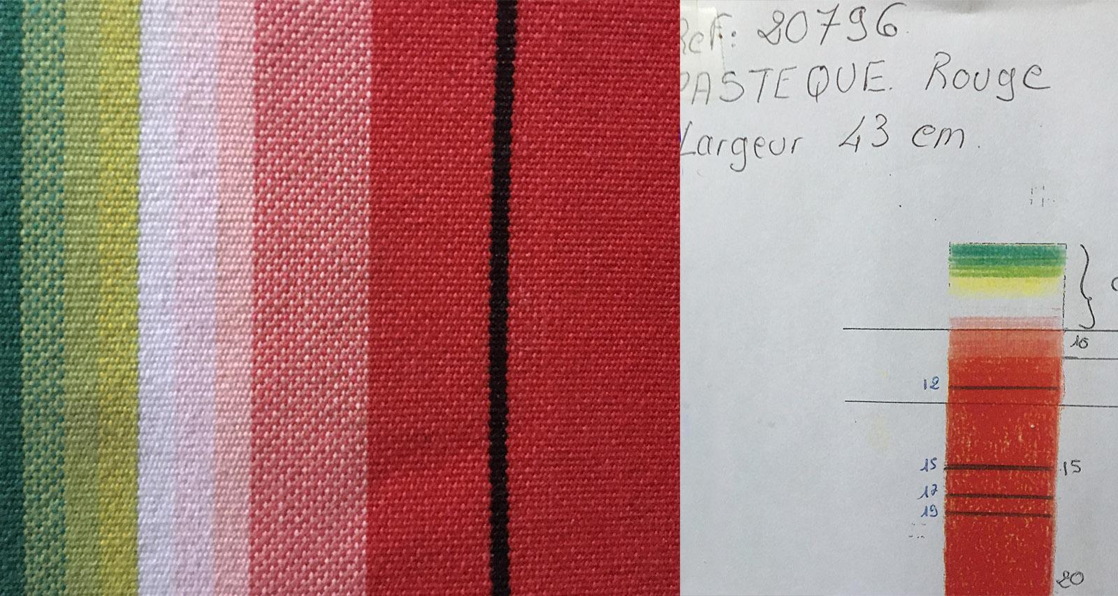 Toiles du Soleil: Im Musterbuch festgehalten: das Streifenmuster Pastèque (Wassermelone). Foto: Hilke Maunder