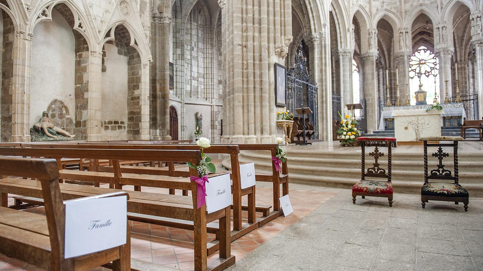L'abbaye Notre-Dame de l'Épine d'Évron: feingemacht für eine Hochzeit. Foto: Hilke Maunder
