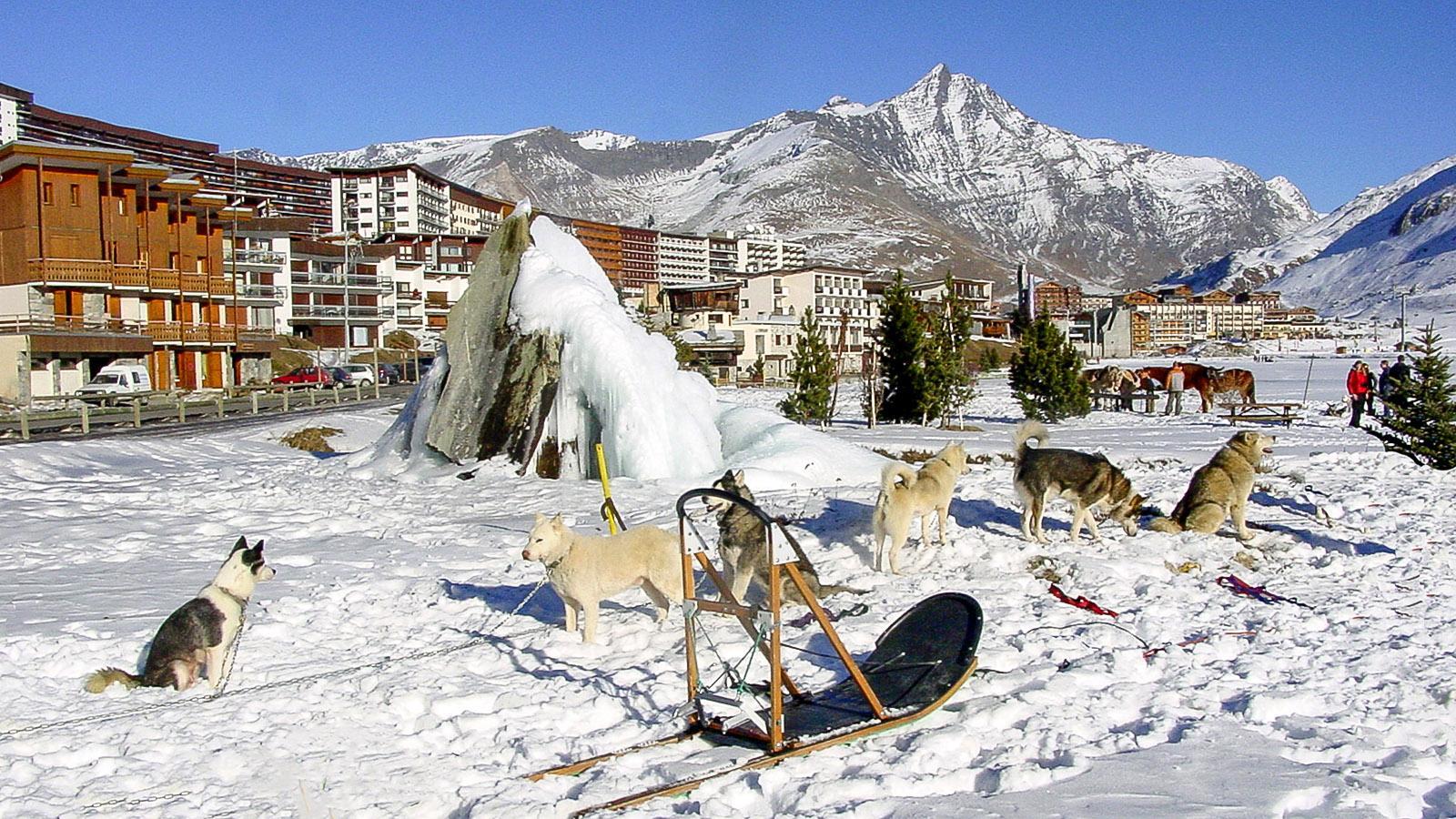 Tignes-Le Lac: Schlittenhunde (Huskies) warten auf die nächste Tour. Foto: Hilke Maunder