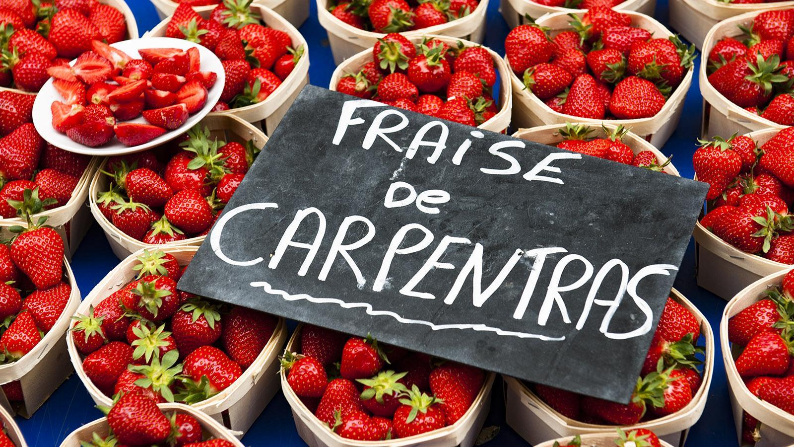 Sonntagsmarkt von Annecy: Die Erdbeeren aus Carpentras sind in Frankreich berühmt! Foto: Hilke Maunder