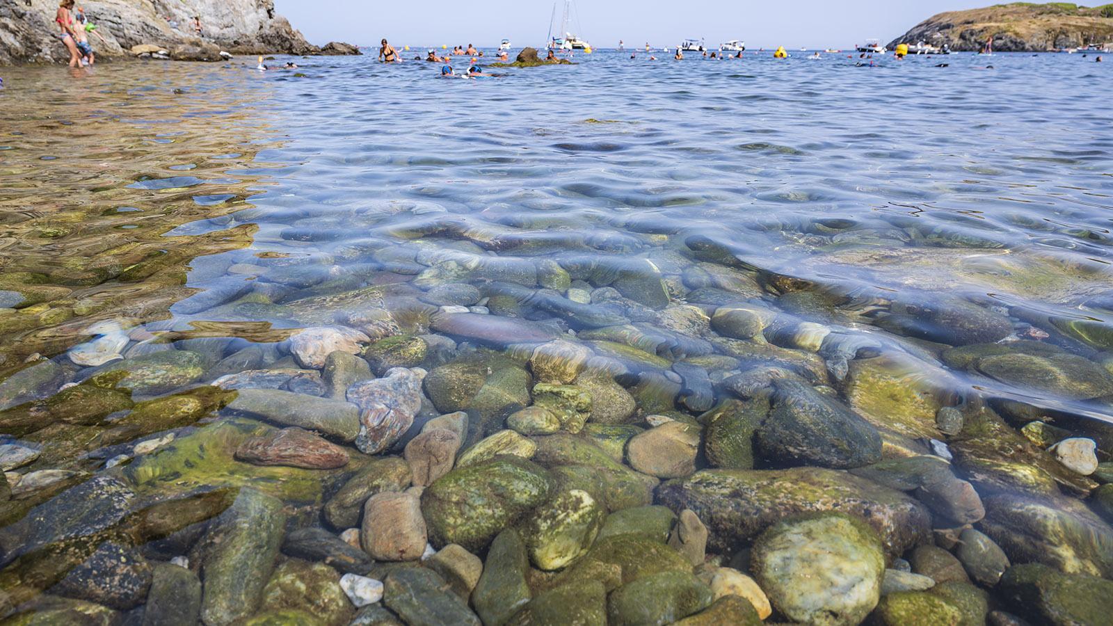 Glasklar ist das Wasser der Plage de Peyrefite. Die Fische kommen bis an den Strand! Foto: Hilke Maunder