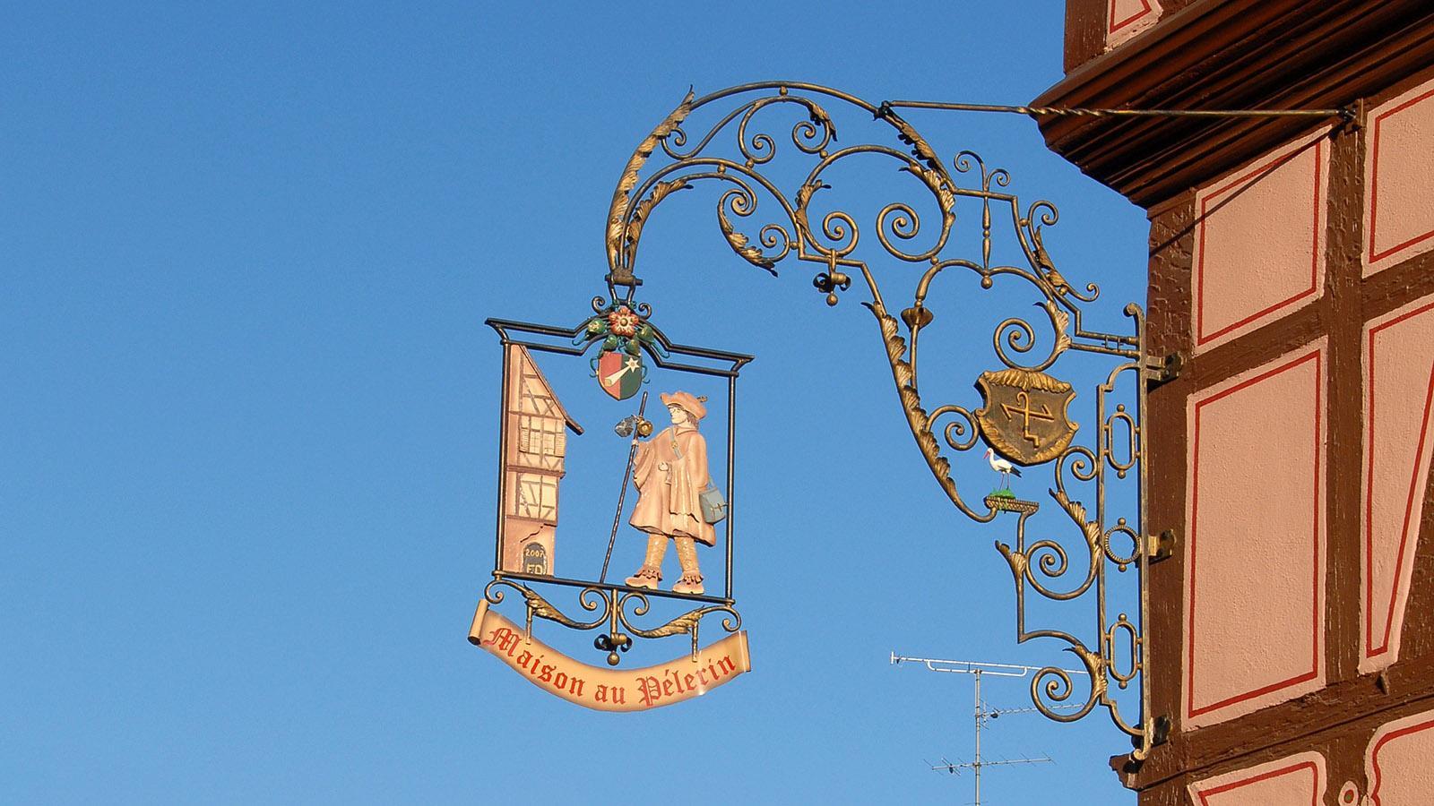 Colmar, Schild eines Pilgerhauses. Foto: Hilke Maunder