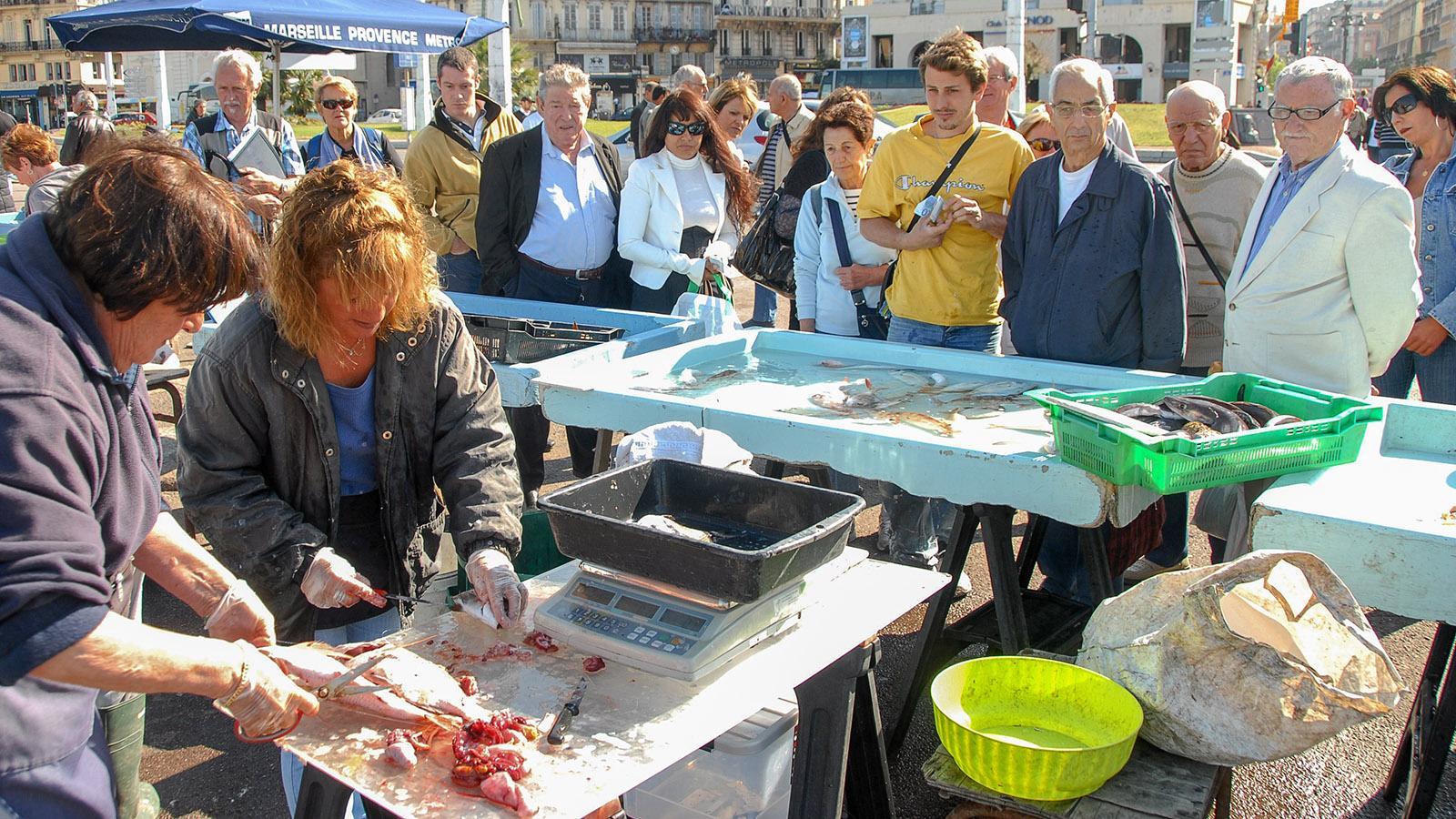 Der Fischmarkt von Marseille im Vieux-Port. Foto: Hilke Maunder