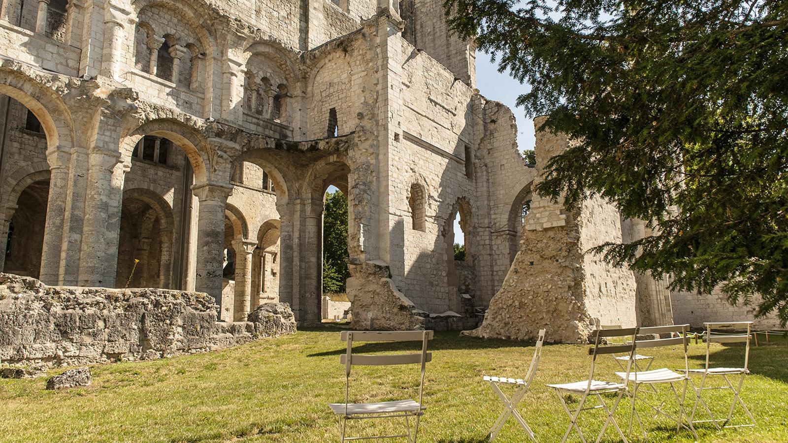 Jumièges: die Ruine der Anbteikirche. Foto: Hilke Maunder