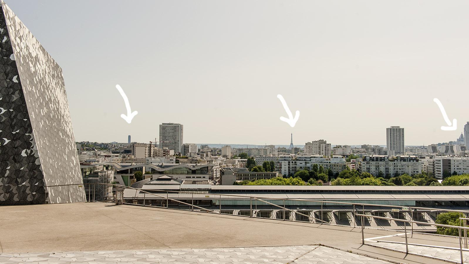 Phiharmonie de Paris: Tour Montparnasse, Eiffelturm und Sacré-Coeur – vereint beim Blick vom Belvédère. Foto: Hilke Maunder