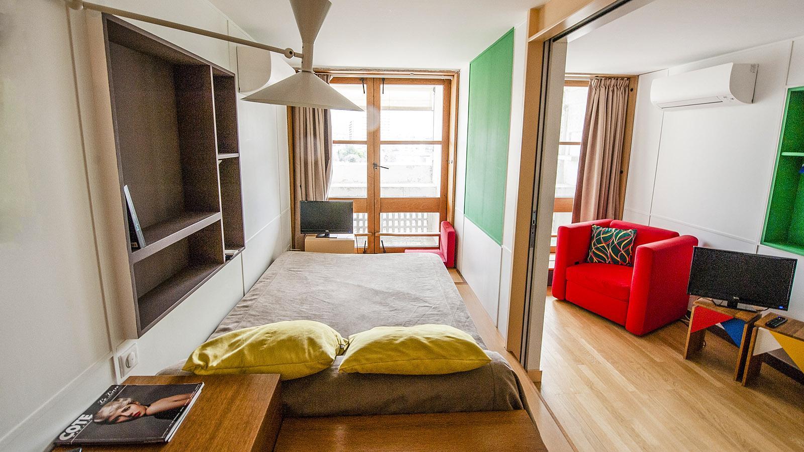 Cité Radieuse: ein typisches Zimmer des Hôtel Corbusier. Foto: Hilke Maunder