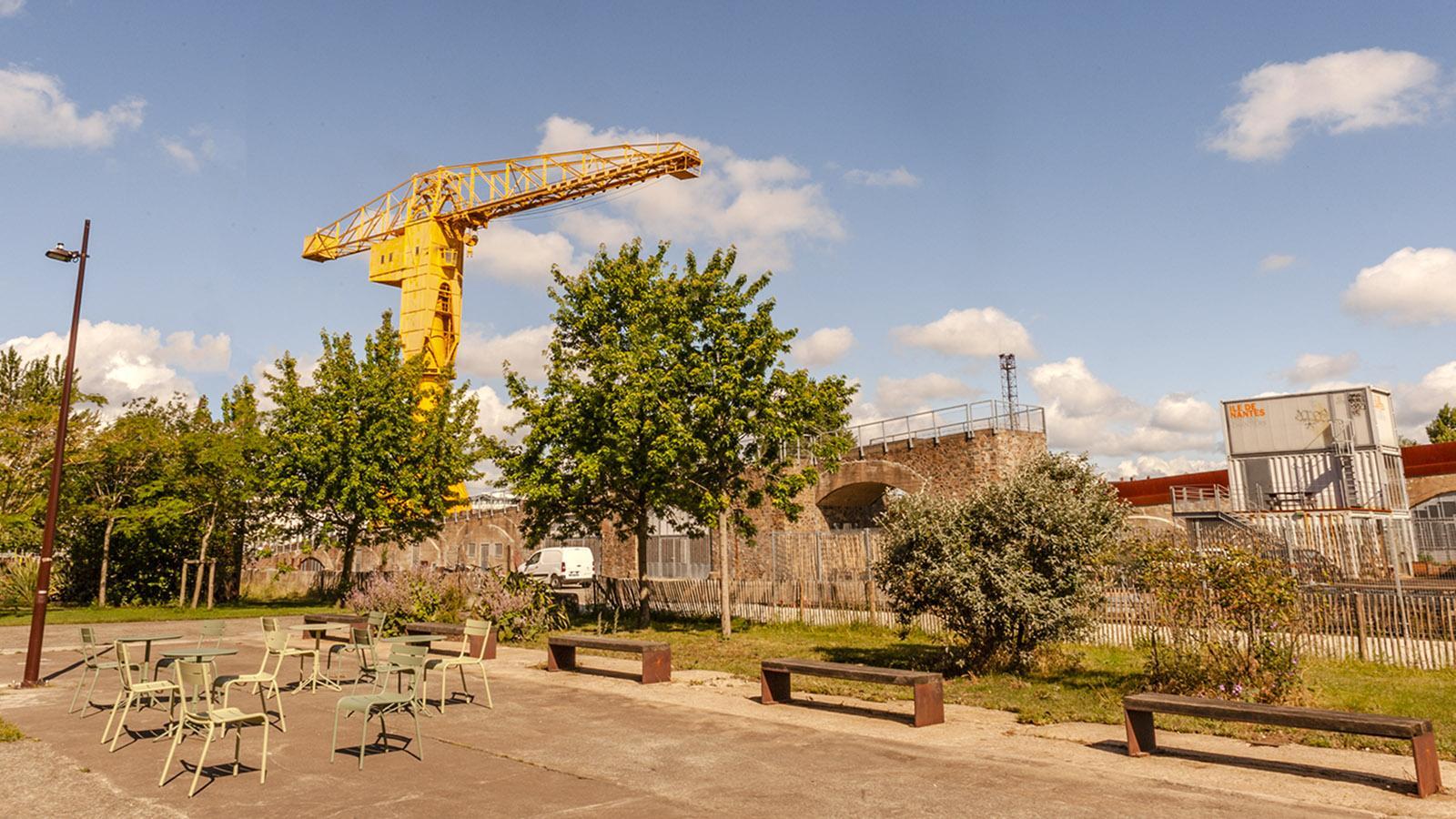 Wahrzeichen der Île de Nantes: der gelbe Kran. Foto: Hilke Maunder