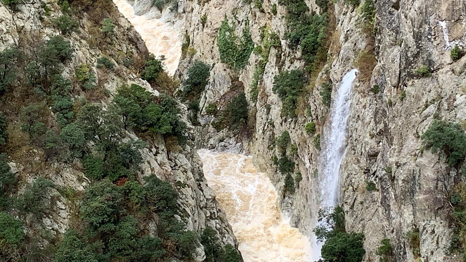 """Gorges de Galamus: Nach einer """"épisode méditerraneen"""" rauschen in der Schlucht die Wasserfälle, und der Agly gebiert sich als Wildwasser. Foto: Hilke Maunder"""