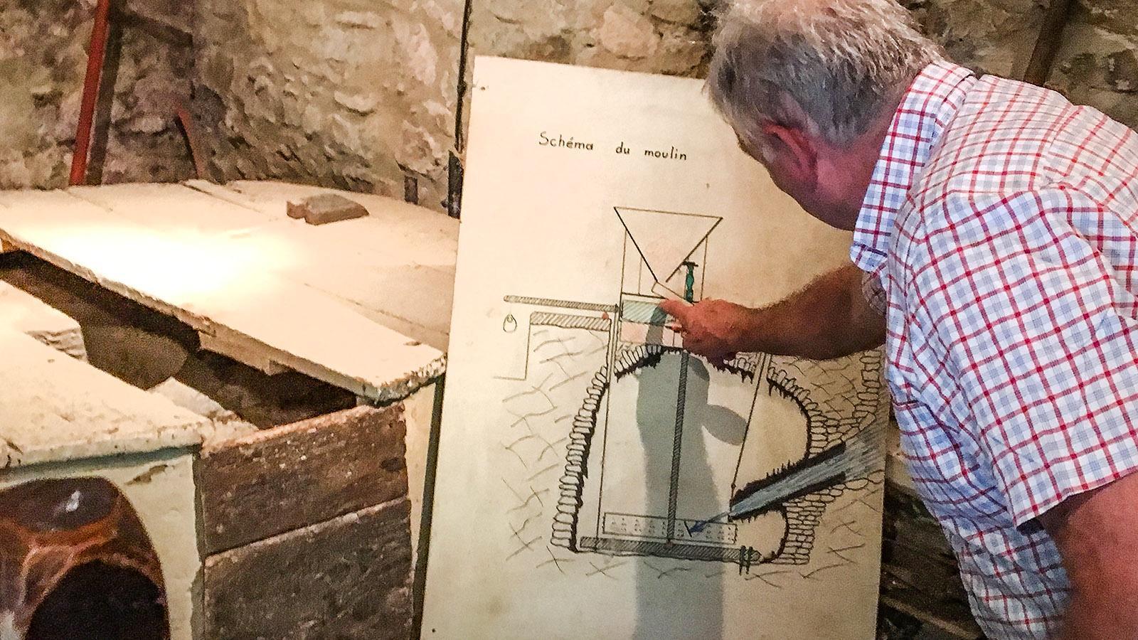 Gorges de Galamus: Plan der mittelalterlichen Mühle am Agly. Foto: Hilke Maunder