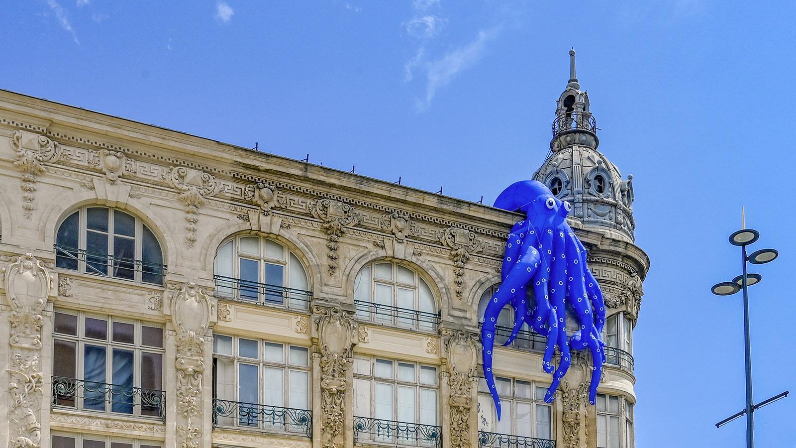 Eine Krake thront gegenüber vom Rathaus in Narbonne auf dem Dach. Foto: Hilke Maunder