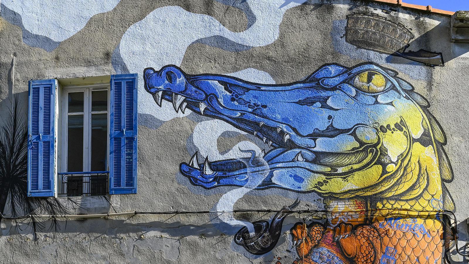 Das Krokodil ziert auch die Fassaden - wie diese Echse im Quartier Gambetta. Foto: Hilke Maunder