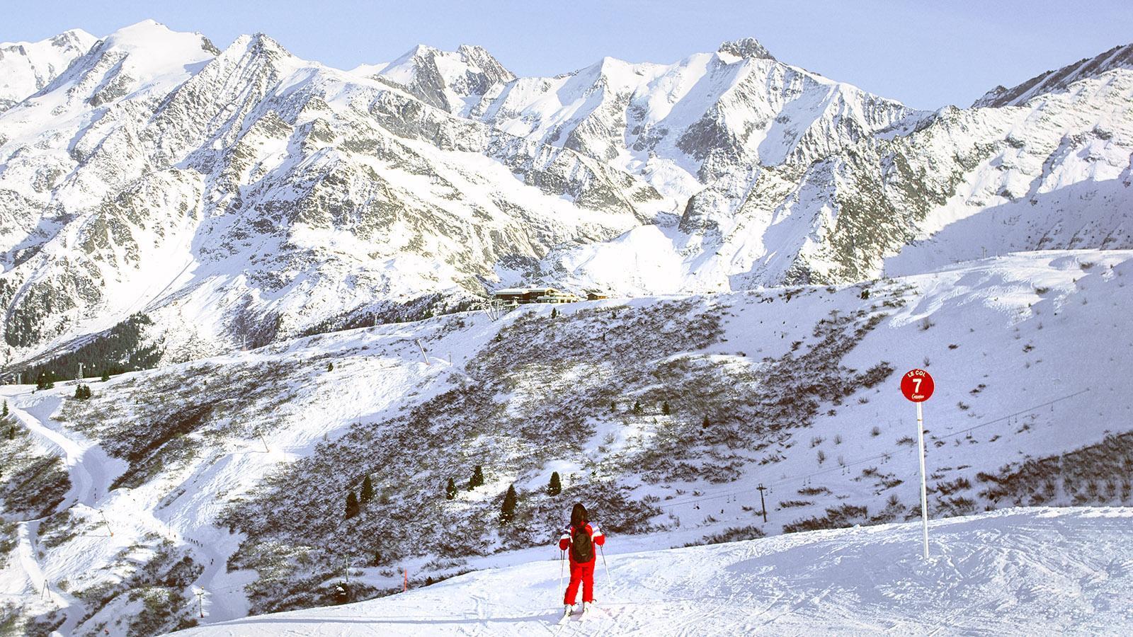 Contamines-Montjoie: Abfahrt mit Blick auf Mont Blanc. Foto: Hilke Maunder