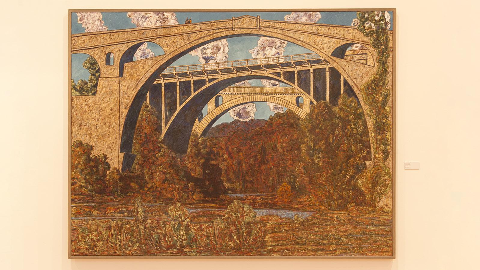 <em>Les ponts de Céret</em> - ein Gemälde von Vincent Bioulès, ausgestellt im Kunstmuseum von Céret. Foto: Hilke Maunder