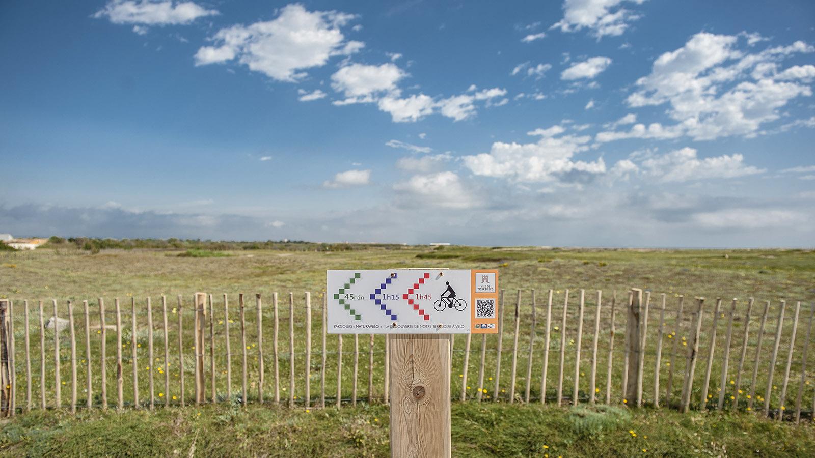 In Torreilles führen mehrere Radwege durch das Schwemmland des Agly, seine Salzmarschen und Dünenreste. Foto: Hilke Maunder