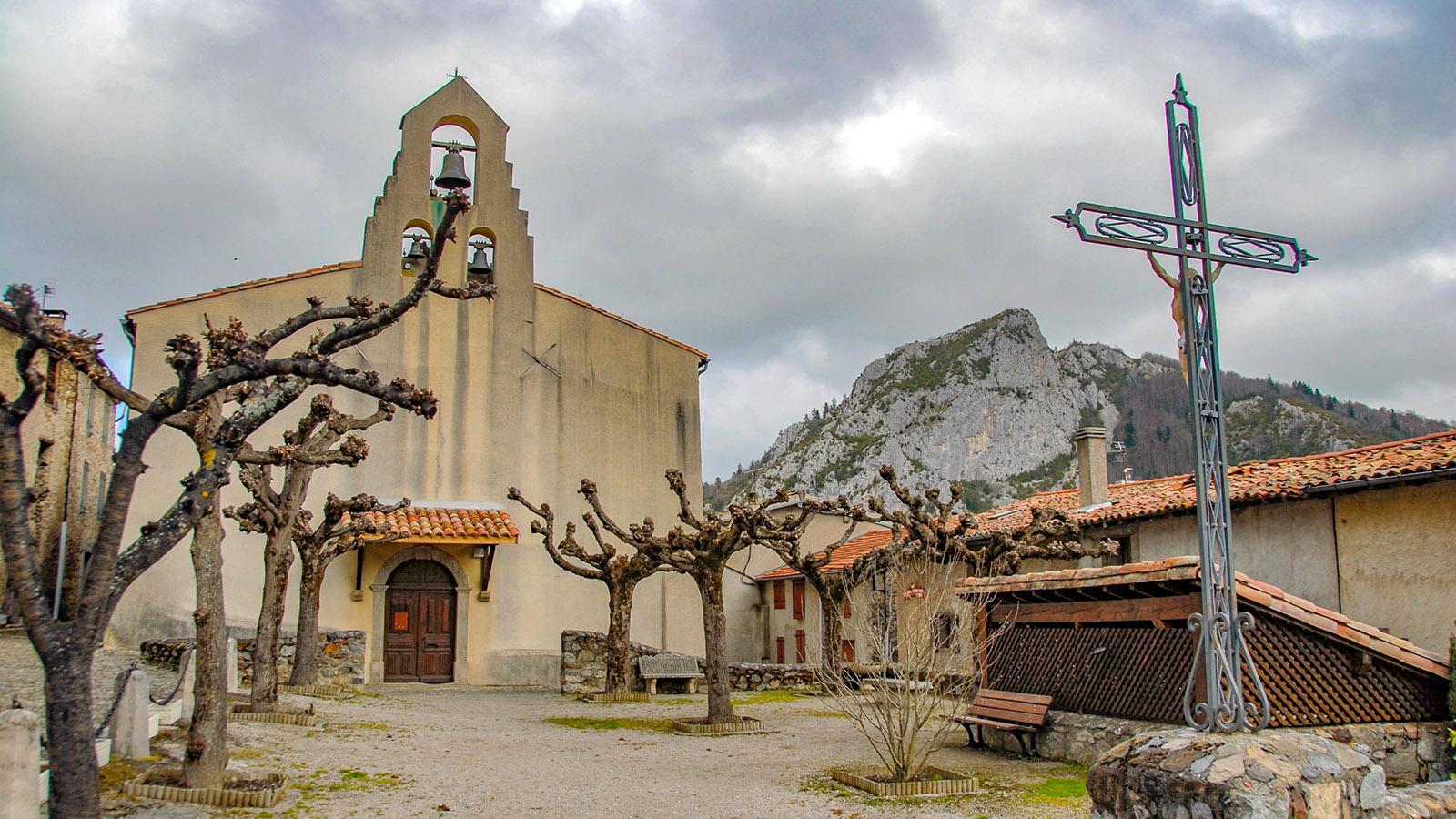 Die Dorfkirche von Montségur. Foto: Hilke Maunder