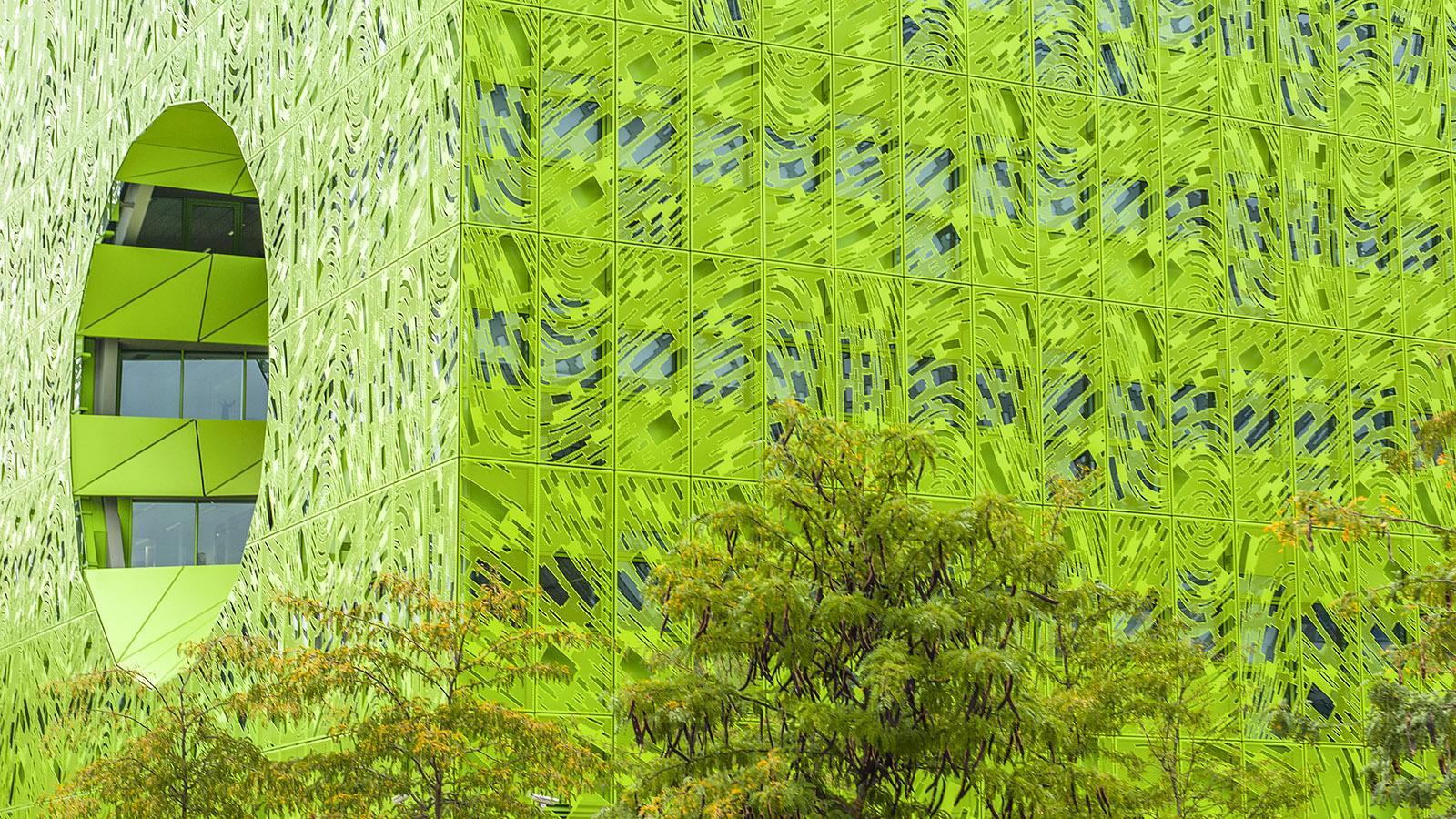 Der cube verte von La Confluence. Foto: Hilke Maunder
