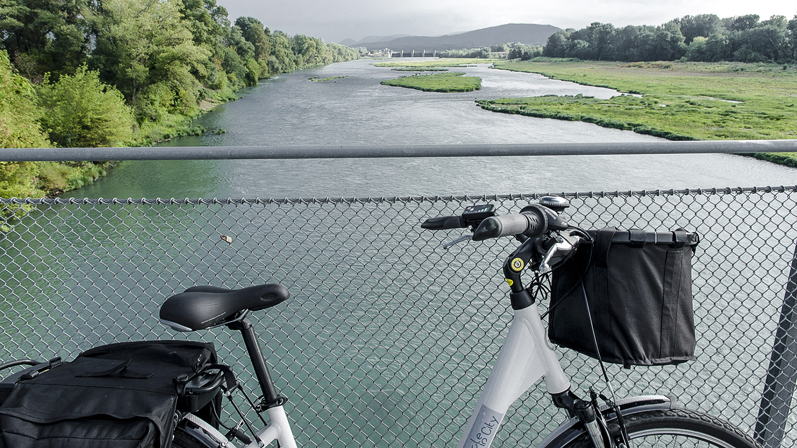 Der Blick von der Rhône-Hängebrücke von Rochemaure gen Norden. Foto: Hilke Maunder