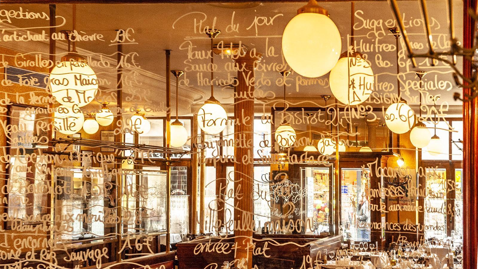 Valence: Als Speisekarte des Bistros des Clercs dient der Spiegel- Foto: Hilke Maunder