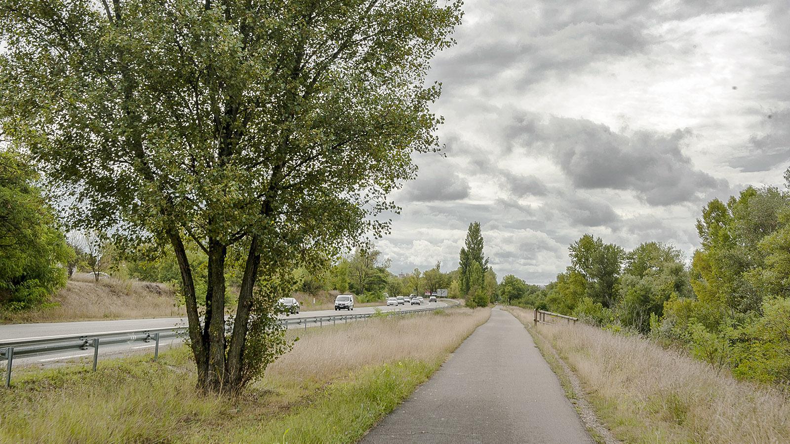 Die Einfahrt nach Valence von Norden auf der ViaRhôna. Foto: Hilke Maunder