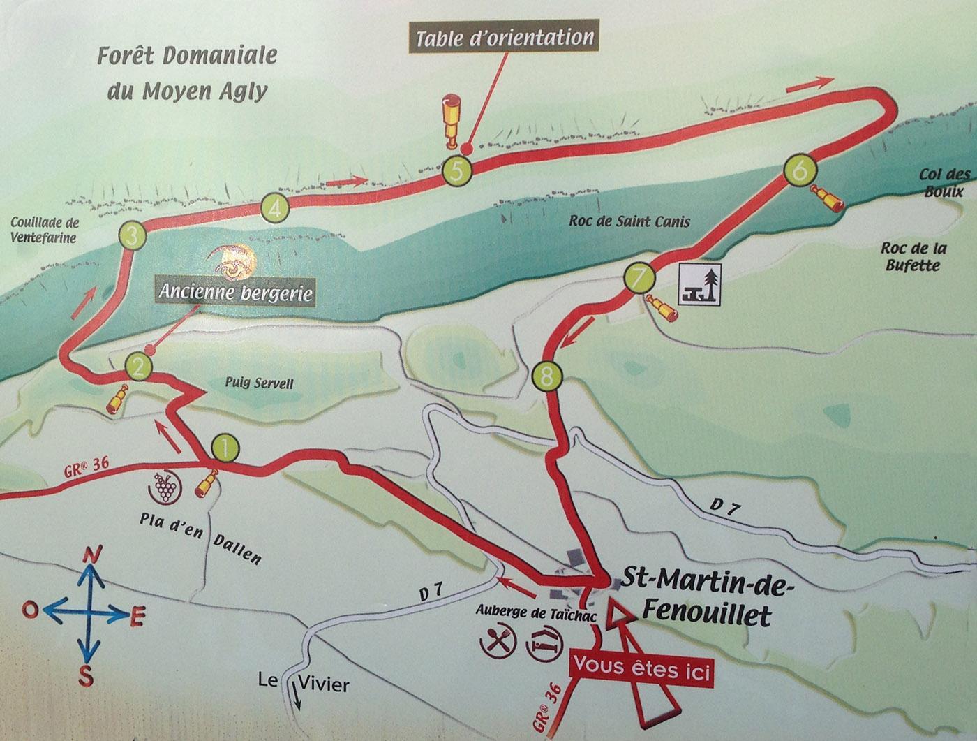 St-Martin-de-Fenouillet, Wanderkarte Sentier de Taichac. Foto: Hilke Maunder