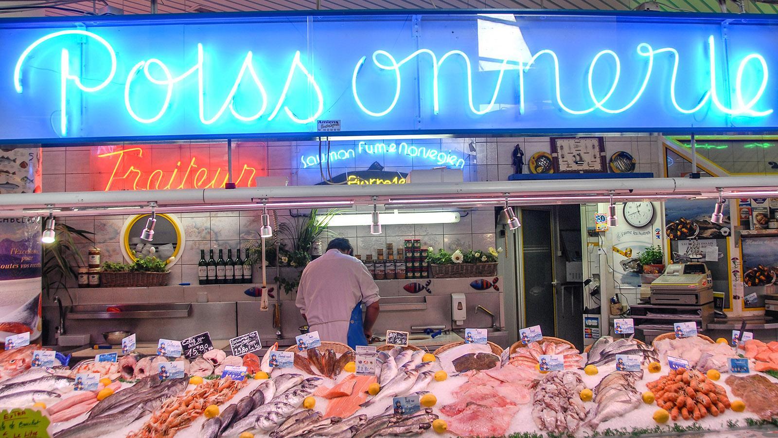 Ein Fischhandel der Halles du Beffroi. Foto: Hilke Maunder
