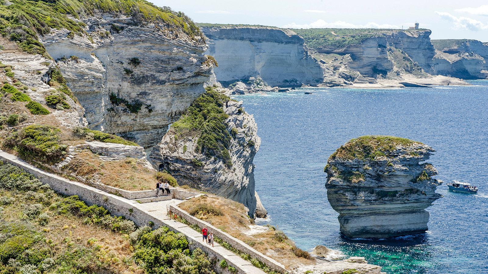 Bonifacio: Blick vom Aufstieg zur Ville Haute auf die Steilküste. Foto: Hilke Maunder
