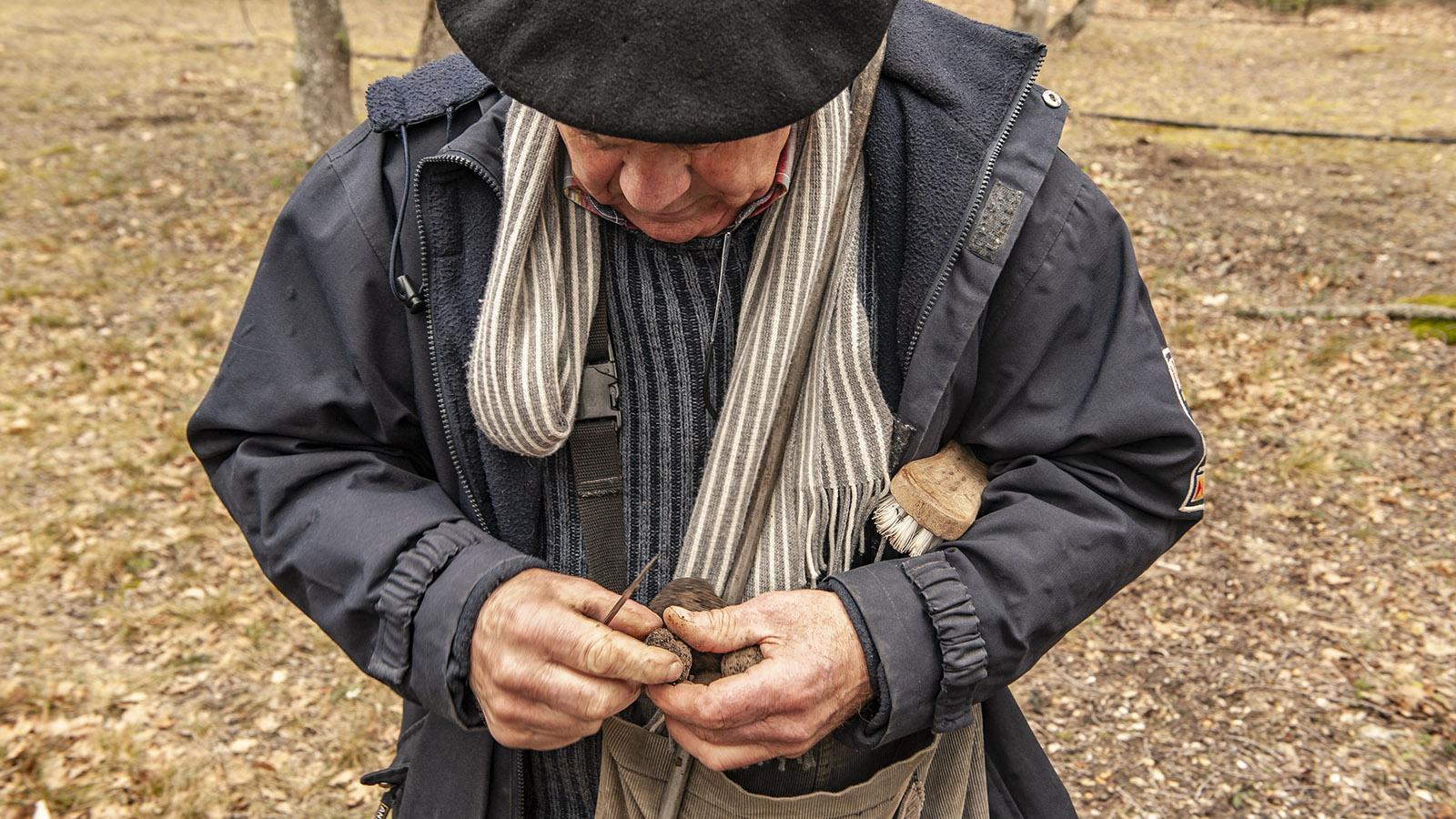 Der Trüffelbauer der Domaine Fiac bürstet die Trüffel nach der Ernte erst einmal ordentlich ab. Foto: Hilke Maunder