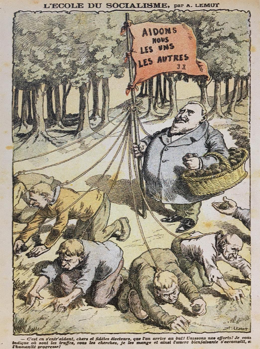 Historische Karikatur, ausgestellt im Trüffelmuseum von Saint-Paul-3-Châteaux