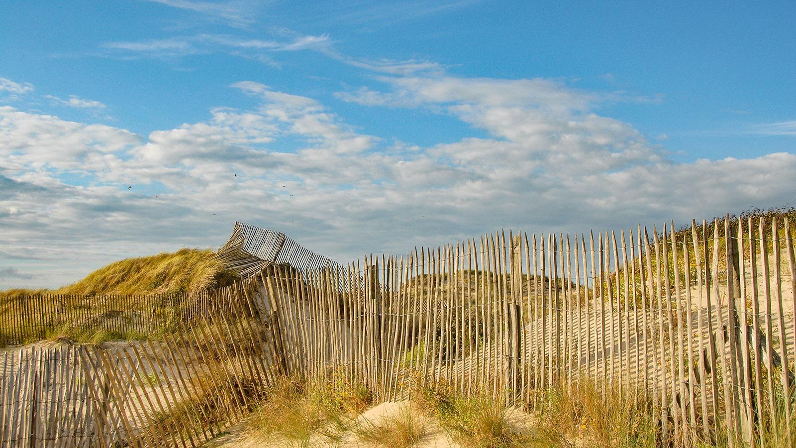 Solche Staketenzäune sind typisch für Frankreichs Küsten - ihr findet sie auch an der Côte d'Opale bei Berck-sur-Mer. Foto: Hilke Maunder
