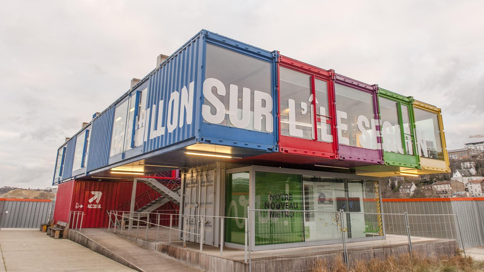 Der Info-Pavillon auf der ÎÎle Seguin. Foto: Hilke Maunder