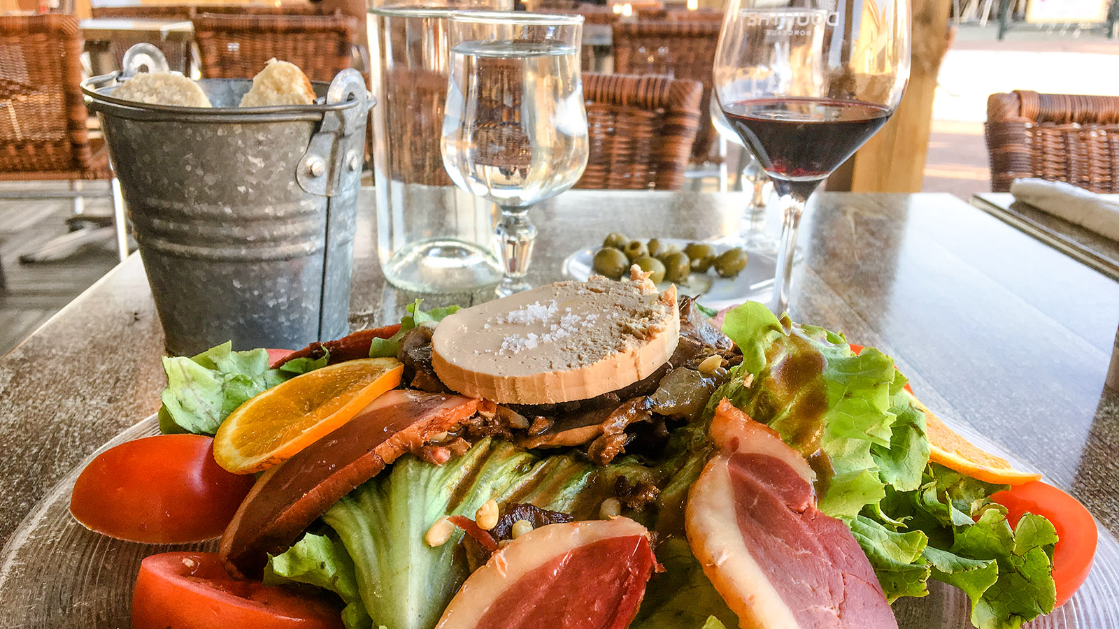 Carcans-Plage. Le Galipo. Salat. Foto: Hilke Maunder