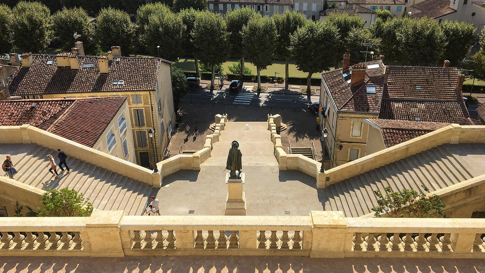 Auch: Musketier D'Artagnan bewacht den Aufgang zur Monumentaltreppe. Foto: Hilke Maunder