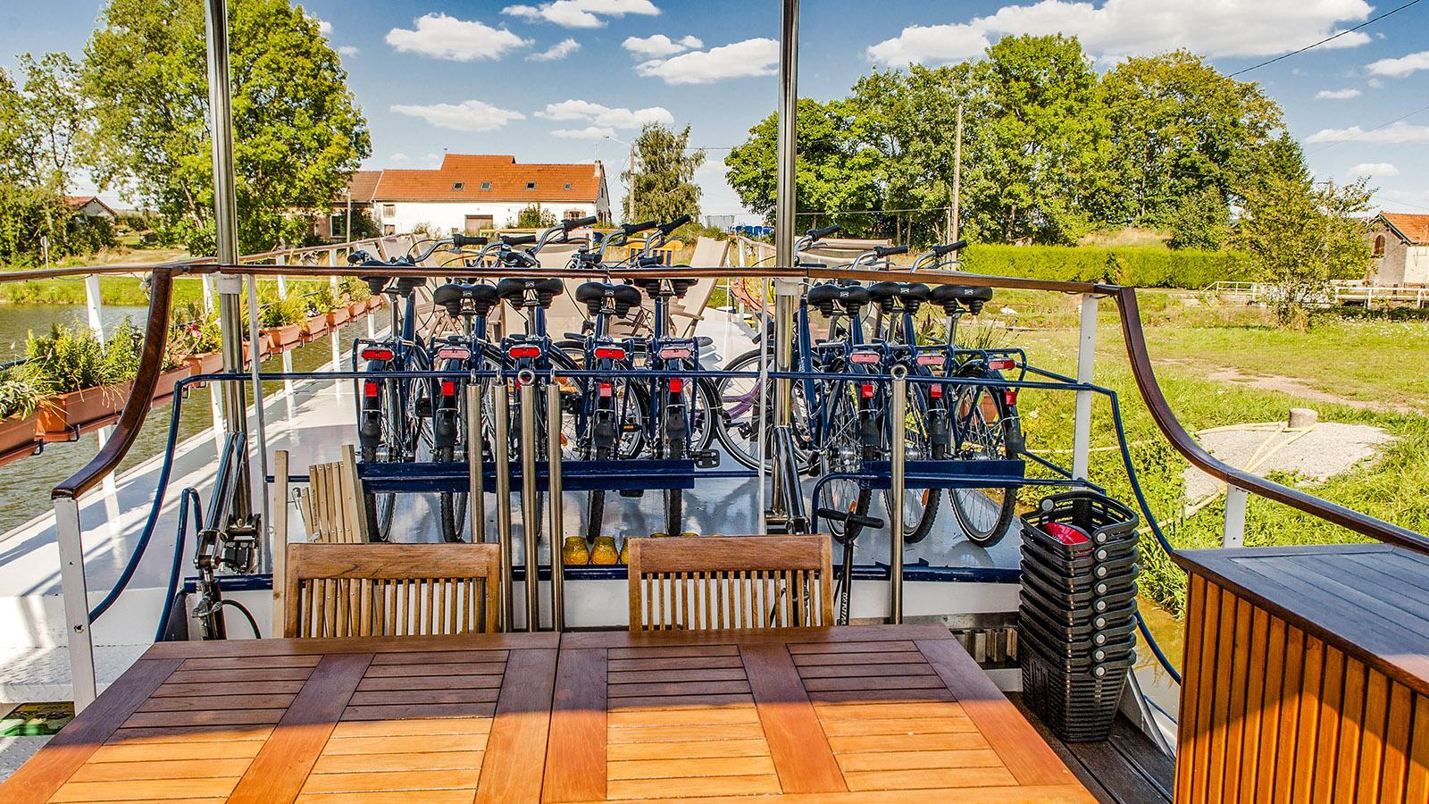 Bei jedem Törn des MS L'Impressioniste sind Fahrräder mit an Bord. Foto: Hilke Maunder