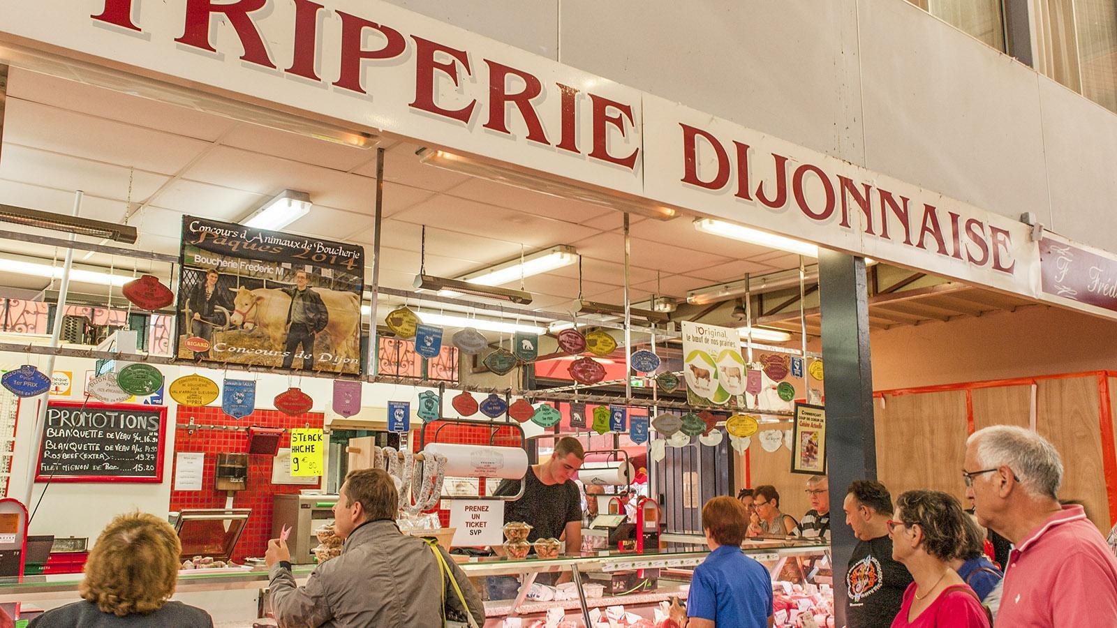 Auch vielerei Innereien findet ihr in der Markthalle von Dijon. Foto: Hilke Maunder