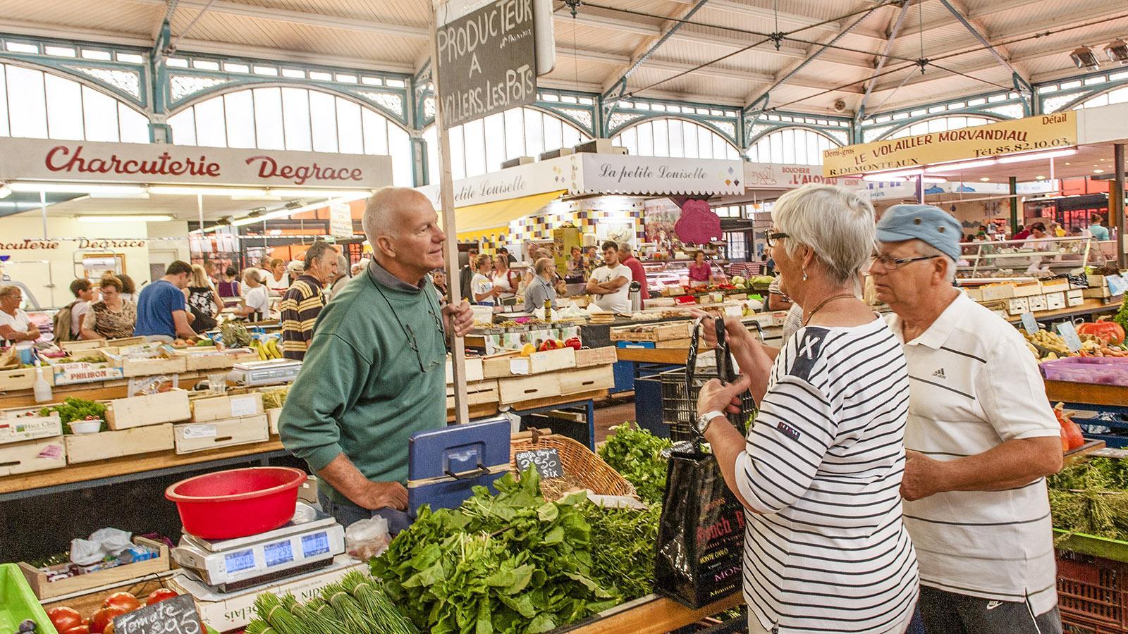 Markthalle von Dijon: Gemüse von lokalen Produzenten. Foto: Hilke Maunder