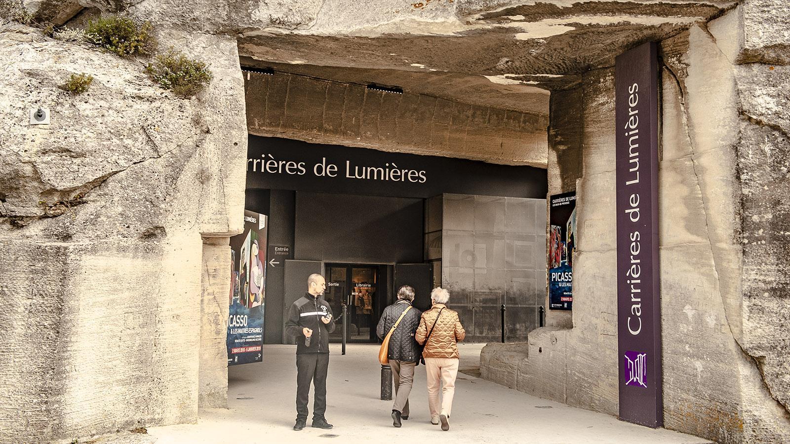Les Baux-de-Provence: Carrieres de Lumières, Eingang, Foto: Hilke Maunder