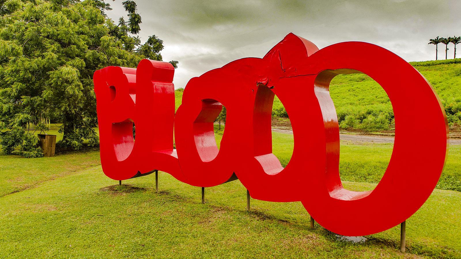 Blood - eine Skulptur erinnert an das Schicksal der Sklaven be der Rumfabrik Habitation Clément. Foto: Hilke Maunder