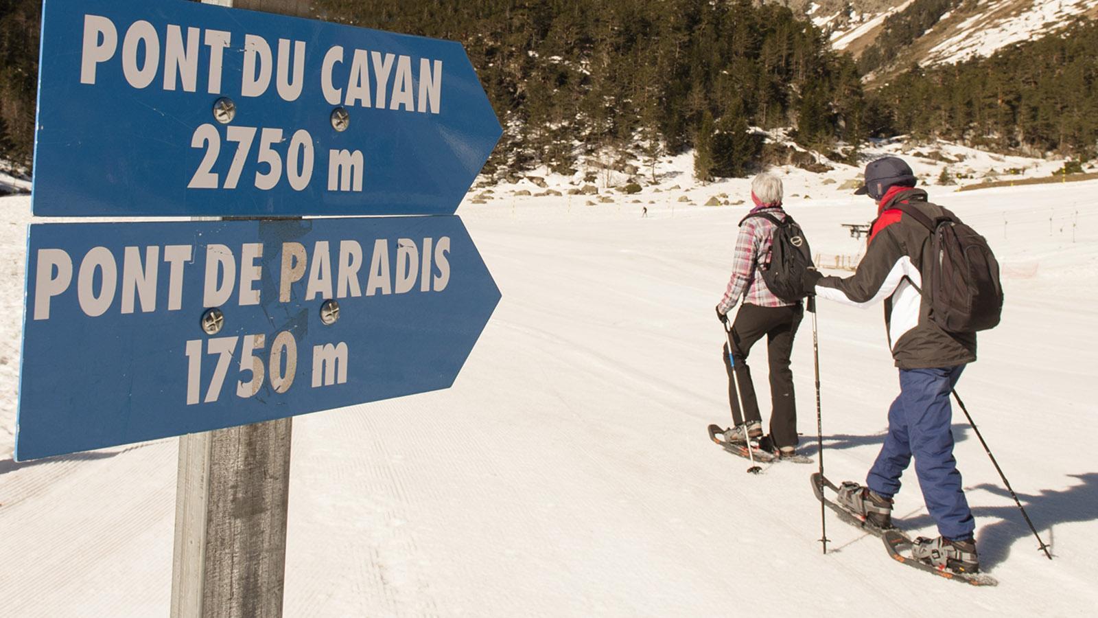 Cauterets: Schneeschuhwandern oder Langlaufen? Die Qual der Wahl am Pont d'Espagne. Foto: Hilke Maunder