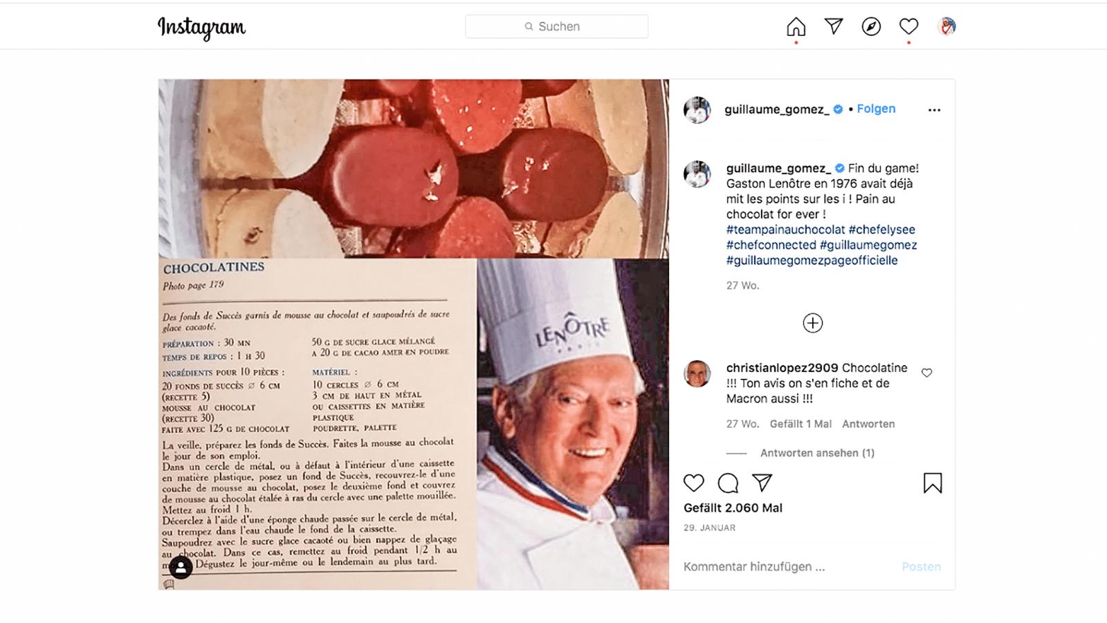 Chocolatine: Das Ende der Debatte - zumindest für Guillaume Gomez, Chefkoch des Élysée. Foto: Hilke Maunder