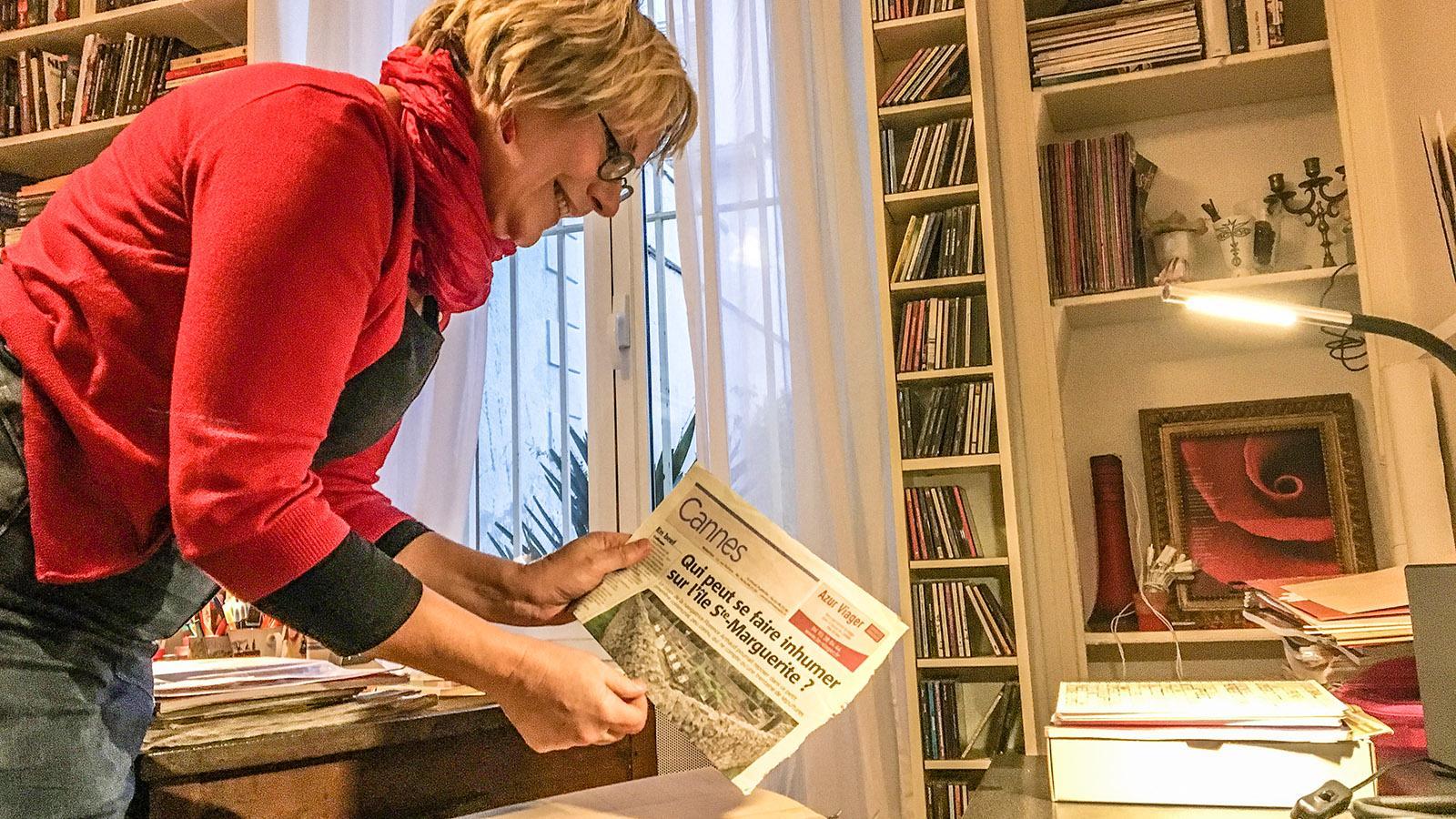 Cannes: Crhistine Cazon in ihrer Schreibstube. Foto: Hilke Maunder