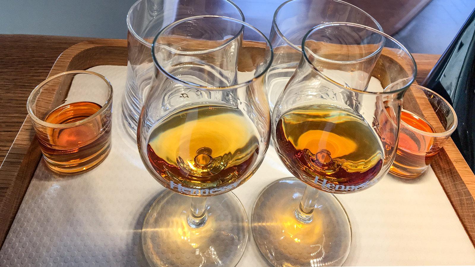Cognac: Das Verkostungsset bei Hennessy. Foto: Hilke Maunder