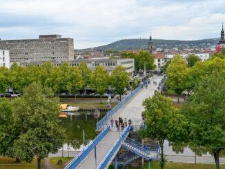 Der Blick auf Saarbrücken von der Schlossterrasse. Foto: Hilke Maunder