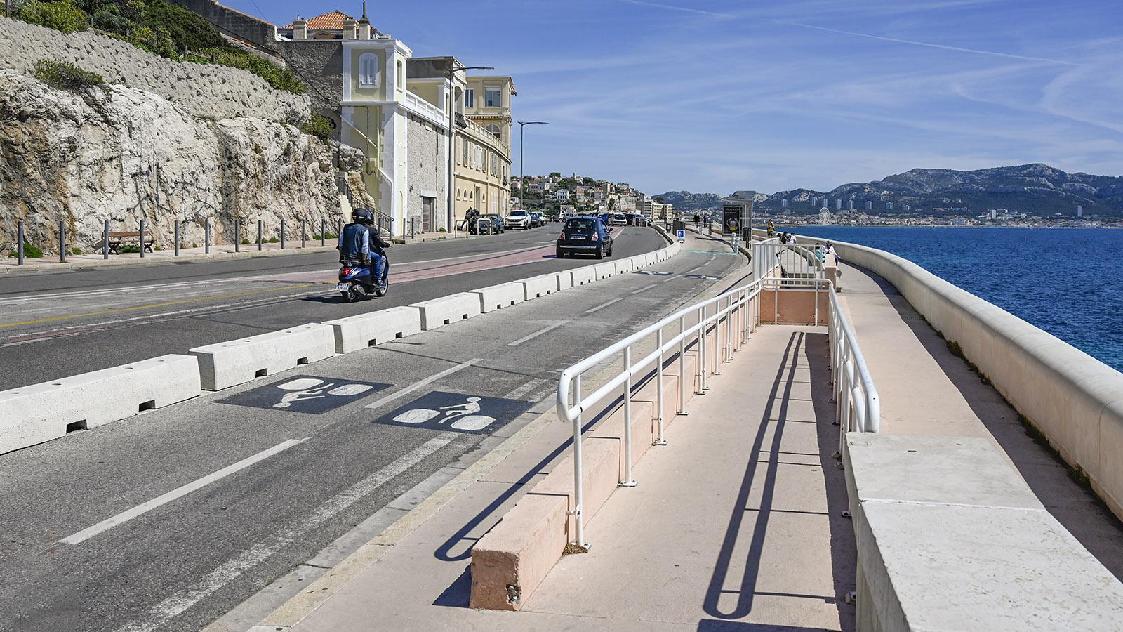 Der Radweg der Corniche Kennedy in Marseille. Foto: Hilke Maunder