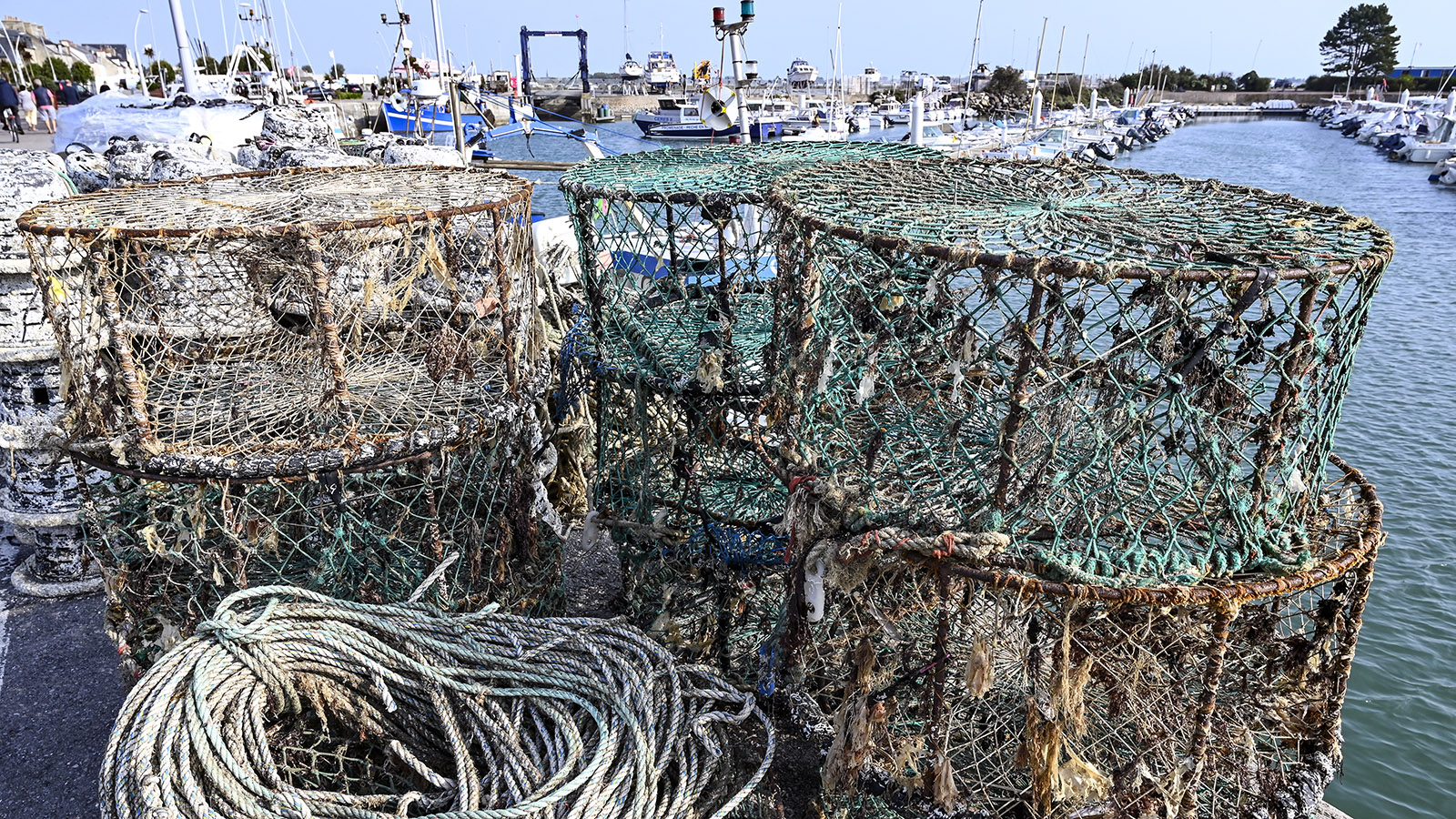 Auch die verschiedensten Seetier-Fallen der Fischer stapeln sich am Kai. Foto: Hilke Maunder