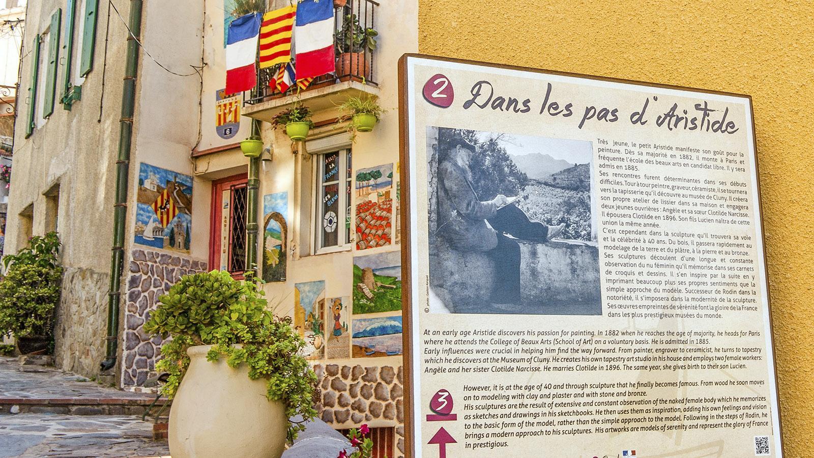 Ein Themenweg folgt in der Altstadt von Banyuls den Spuren des Malers Maillol. Foto: Hilke Maunder