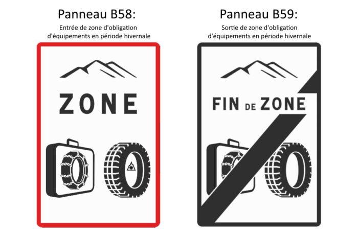 So werden die Zonen mit Winterreifenpflicht ausgewiesen. Copyright: Gouvernement Français