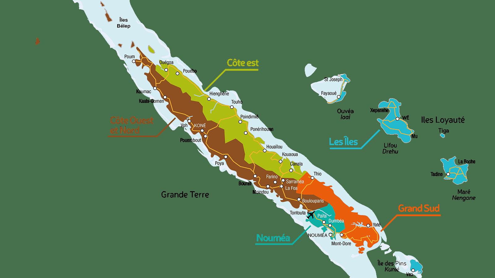 Die Karte: Neukaledonien. Copyright: Tourisme Nouvelle-Calédonie